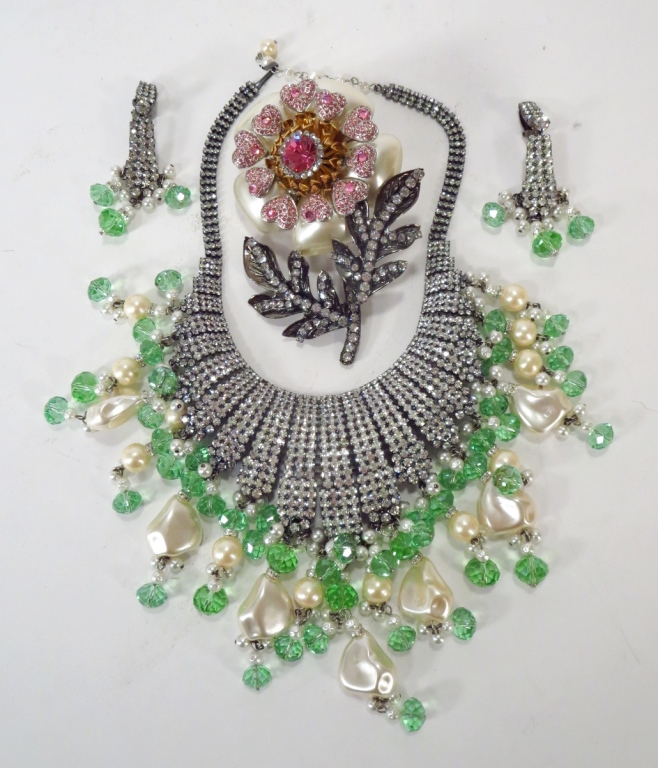 VRBA Floral Brooch & Rhinestone Necklace