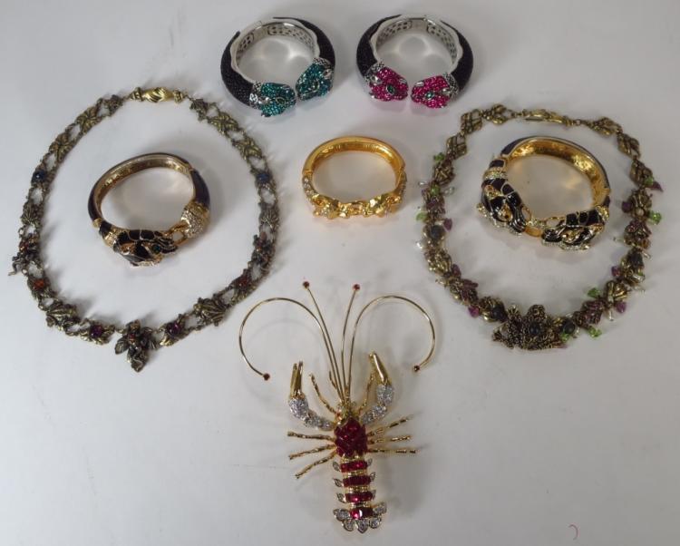 Landau Pin, Frog Necklace, & Bangles