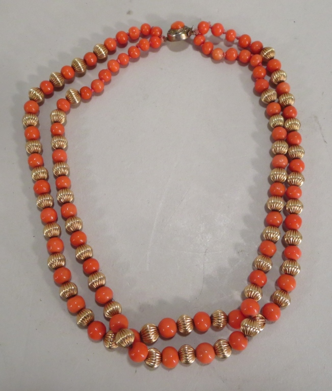 Double Strand Coral Necklace, .800 Silver Vermeil