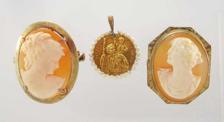 2 Cameos & a Gold St. Christopher Medal