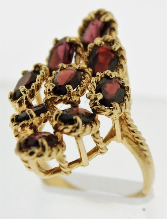 14K Gold and Garnet Cocktail Ring