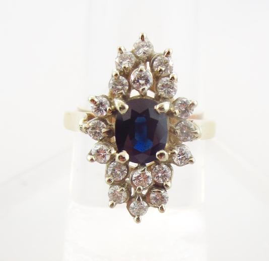 14K Yellow Gold Sapphire & Diamond Ring