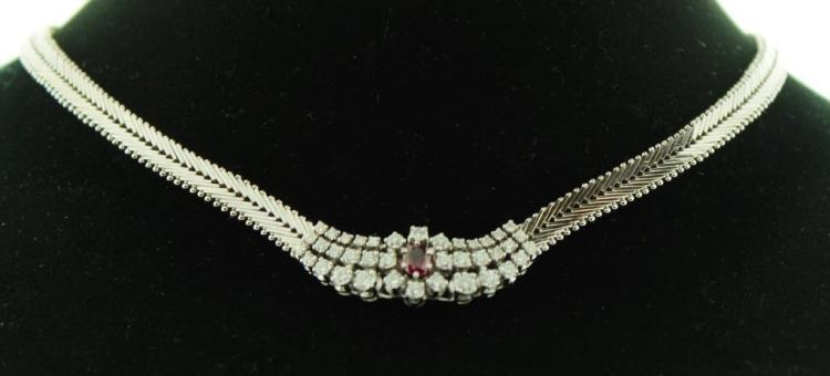 18k Gold, Diamond and Ruby Necklace