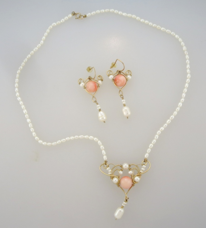 Fresh Water Pearl, Coral Necklace & Earring Set