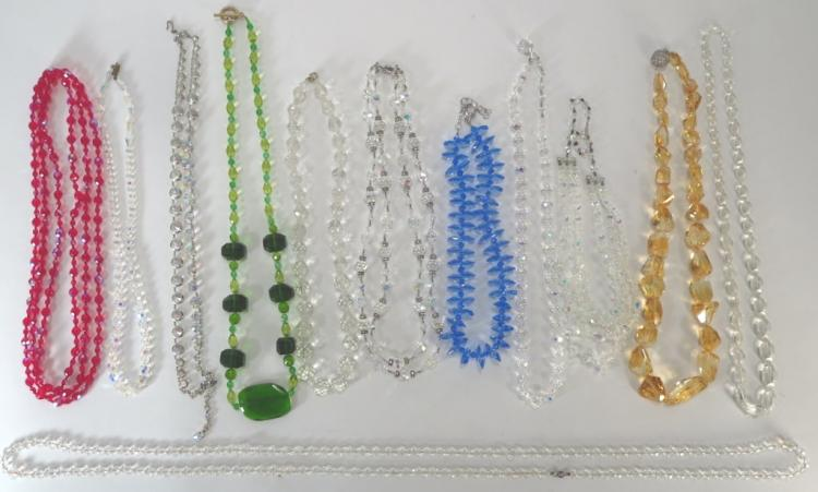 Lot of Crystal Necklaces - Some Vintage