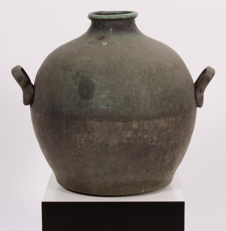 Large Bronze Amphora with Verdigris Surface.