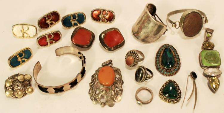 16 pcs of Studio Jewelry. Sterling Silver & Others