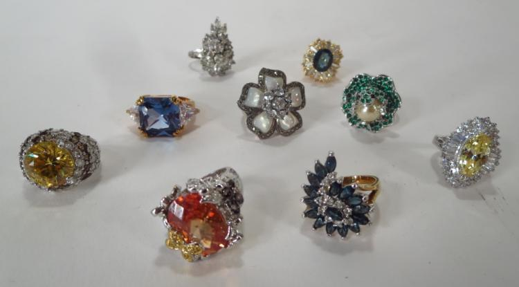 Lot of 9 Costume Cocktail Rings
