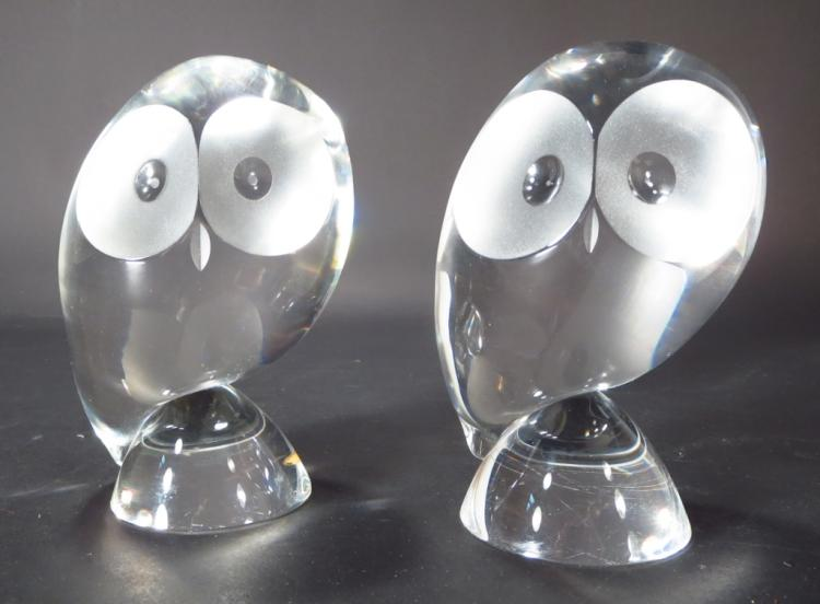 Pair of Steuben Crystal Owls, Signed