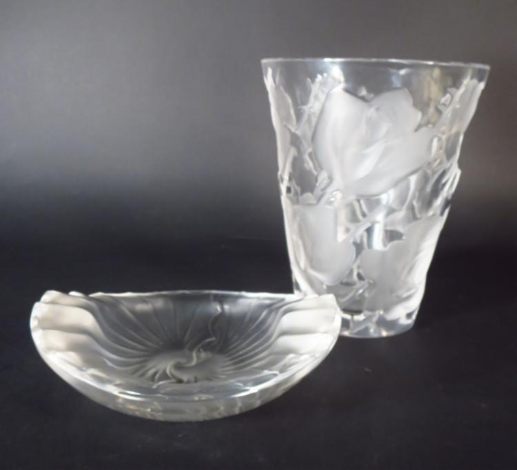 Lot of 2 Lalique Ispahan Rose Vase & Cigar Ashtray