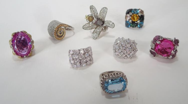 Group of 8 Costume Cocktail Rings