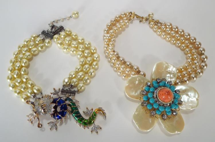 VBRA Jeweled Dragon & Floral Necklaces