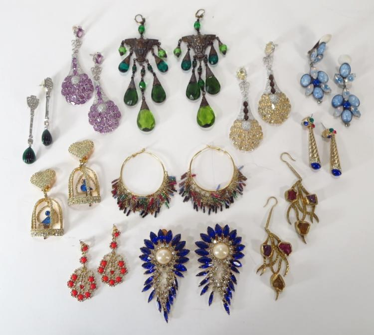 11 prs of Costume Chandelier Earrings