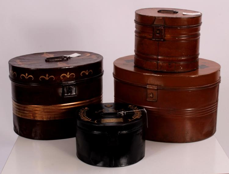 Antique Tole Hat Boxes