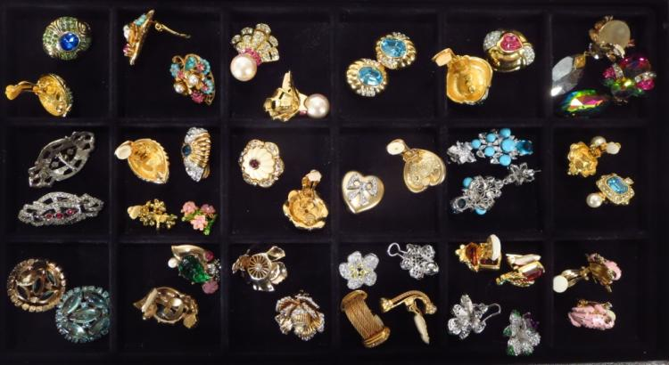 Lot of 22 Costume Clip Earrings