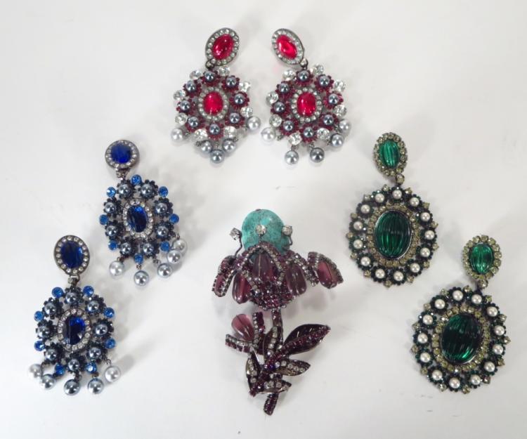 VBRA Costume Brooch & Earrings