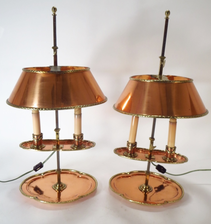 Pair of Brass & Copper Bouillotte Lamps, 19th C.