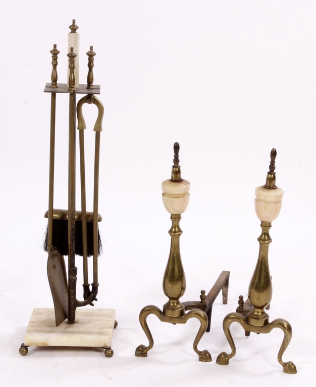 Alabaster and Brass Andirons and Fire Tool Set