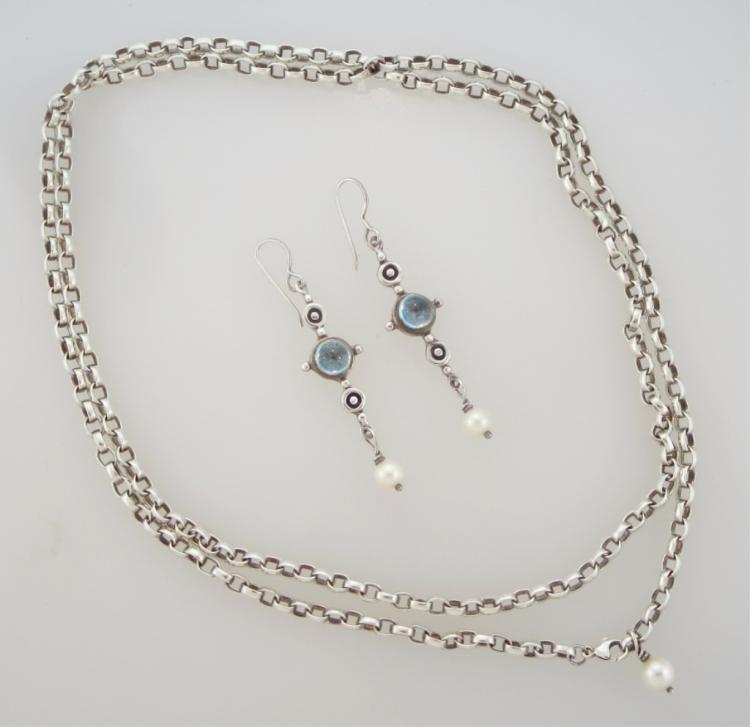Susan Drabkin Modern Sterling Earrings + Necklace