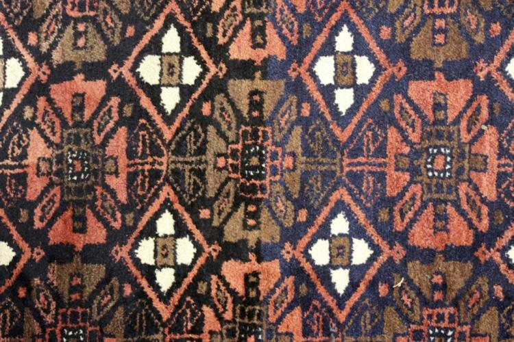 Iranian Hall Rug, with Diamonds and Flowers.