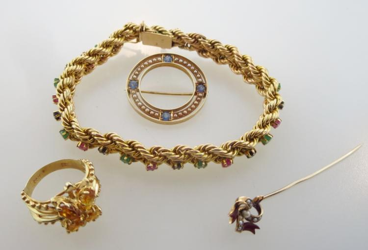 Four 14k Gold Jewelry Items, 19/20th C.