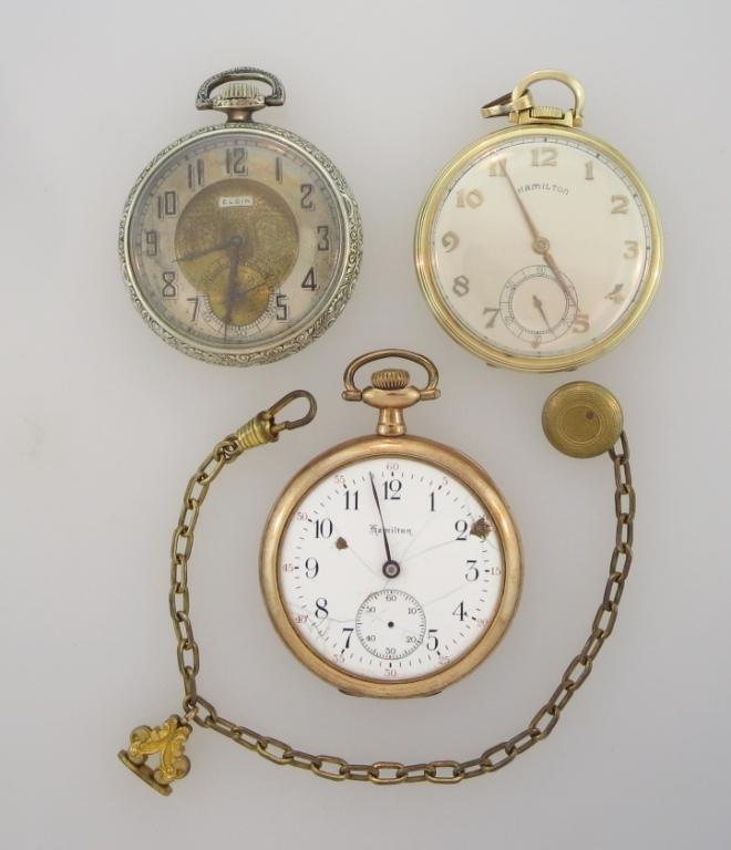 Three Pocket Watches & Watch Chain