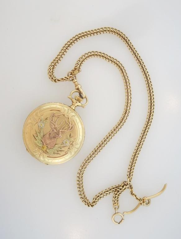 14 K Gold Waltham Hunter Case Pocket Watch & Fob