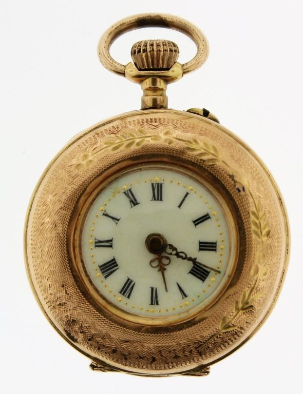 14K Gold & Enamel Pocket Watch, French 19th/20th C