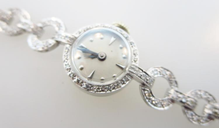 Diamond and Platinum Vintage Ladies Wrist Watch