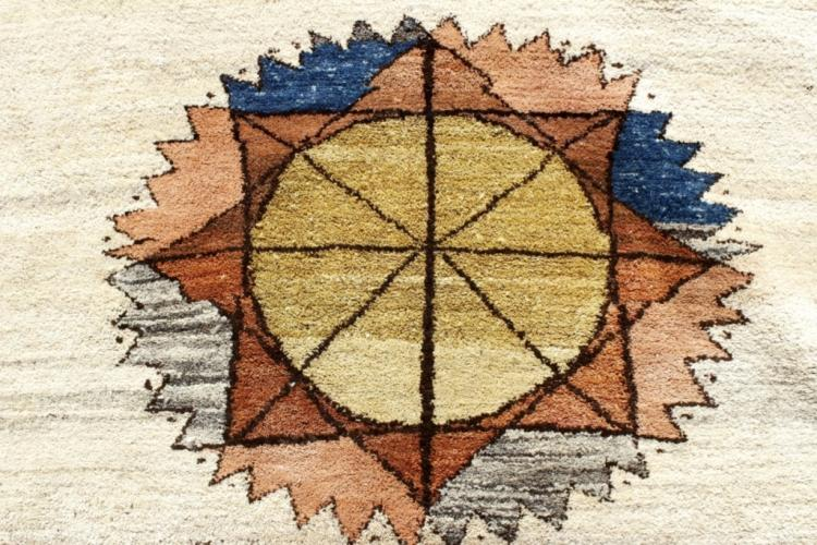 African Motif Wool Carpet, Beige with Brown Border