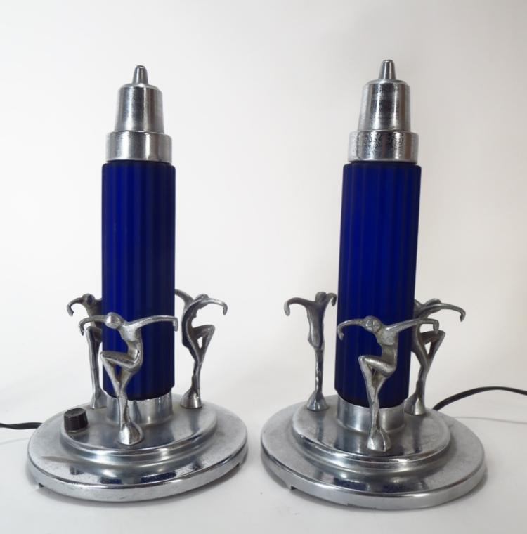 Pair of Art Deco Chrome and Blue Glass Lamps