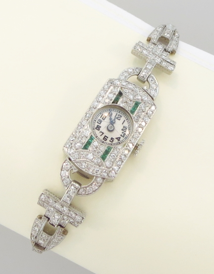Diamond, Emerald, & Platinum Vintage Ladies Watch
