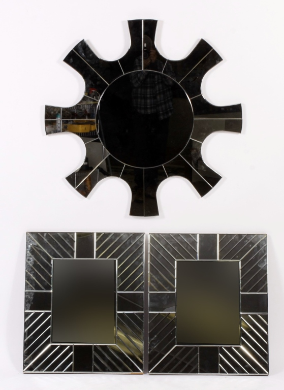 3 Modernist Mirrors; Sunburst and Pair