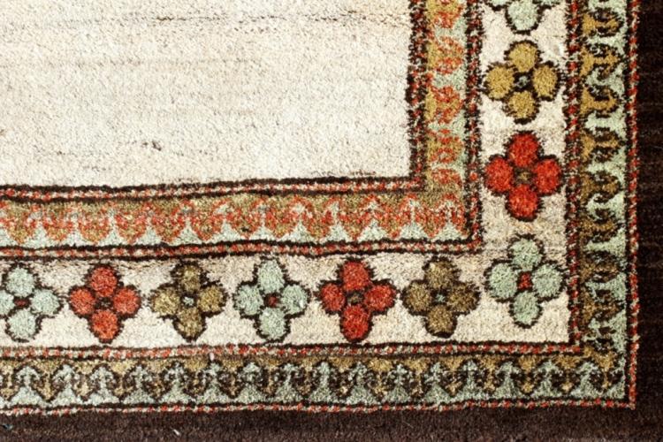 Wool Carpet Beige Field, Brown/Green Floral Border