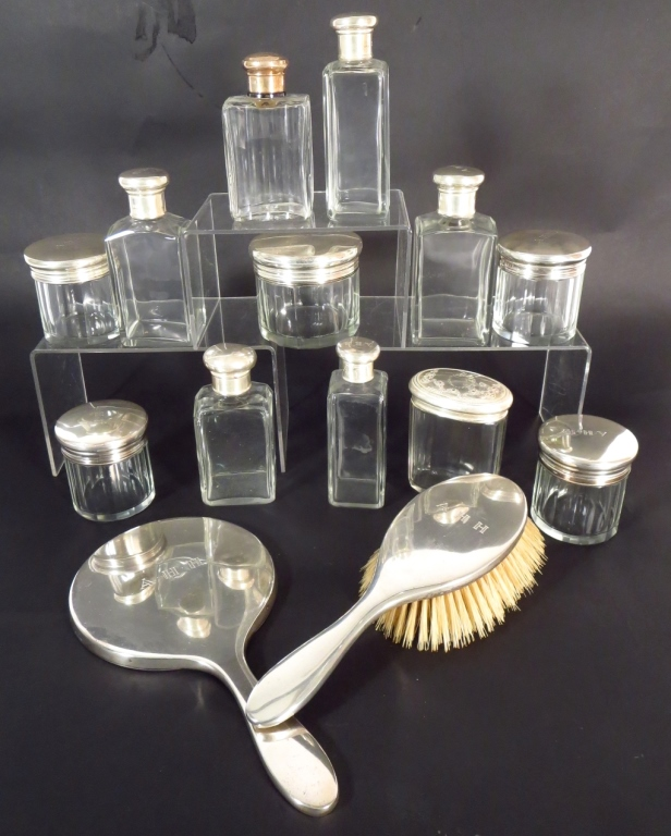 English Sterling Mounted Dresser Items,20th C.
