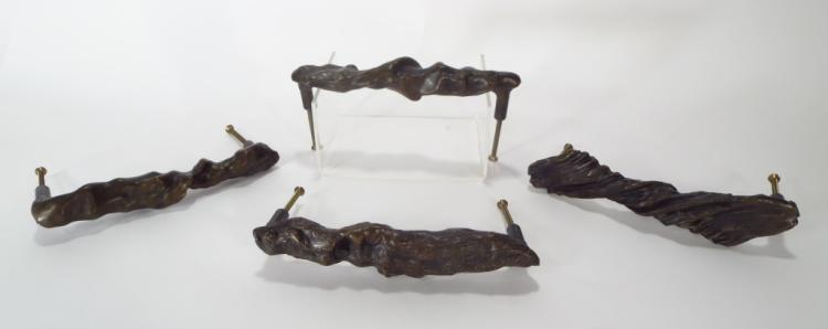 Group of Four Bronze Art Handles