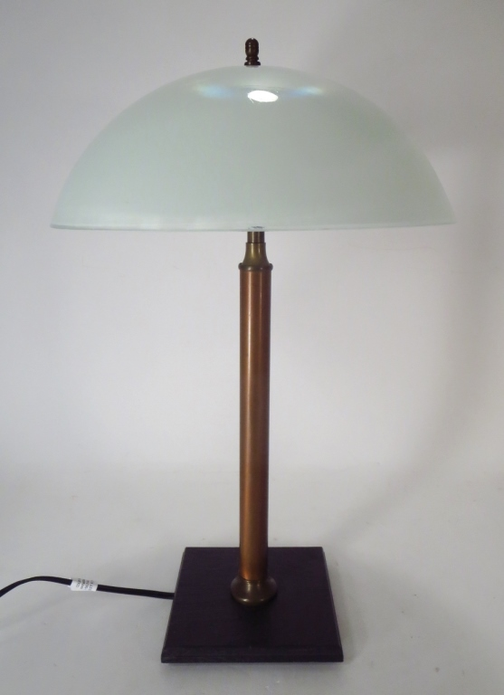 Midcentury Bronze Table Lamp with Glass Shade