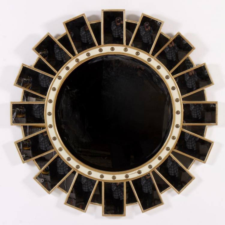 Contemporary Sunburst Wood/Glass Round Mirror