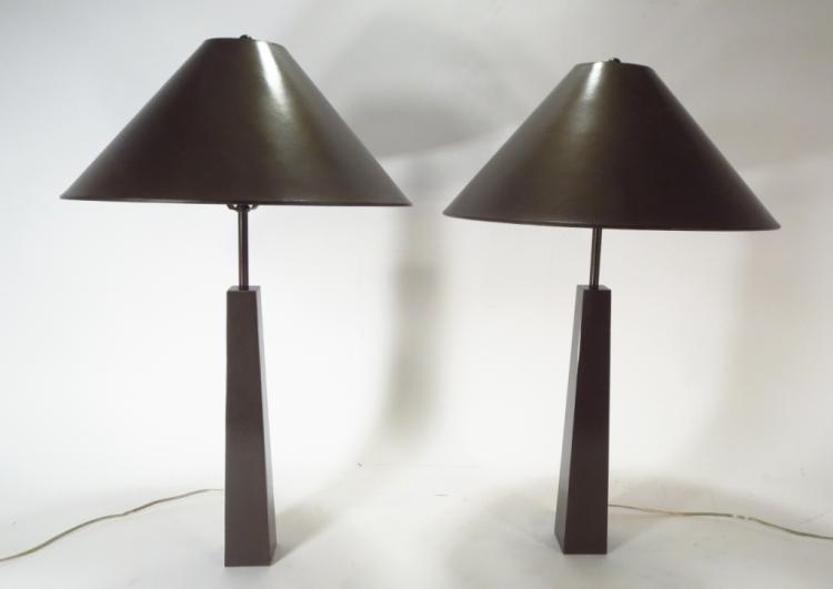 Pair of Bronze Mletalic Table Lamps