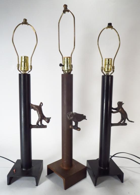 3 Bronze & Steel Figural Lamps