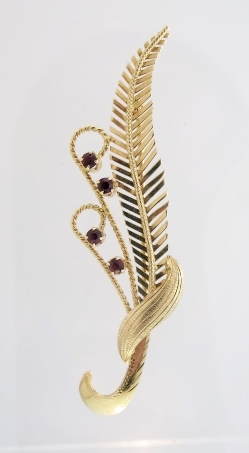 18K Gold and Synthetic Ruby Brooch Italian c1960