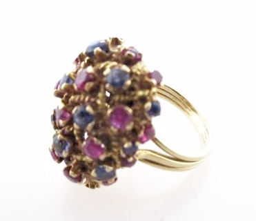 18K Yellow Gold, Ruby, and Sapphire Ring