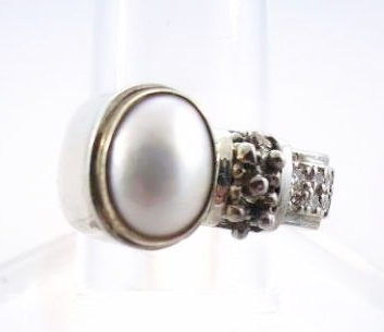 Mabe Pearl, Diamond, 18K Gold, Sterling Ring