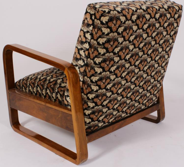Art deco adjustable walnut lounge chaise for Art deco chaise lounge