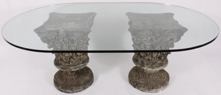 Glass Top Dining Table On Corinthian Pedestals