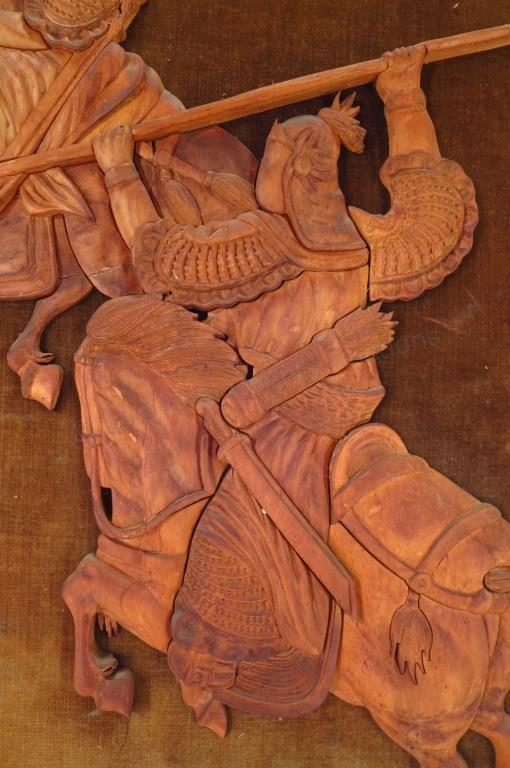 Dueling warriors carved cedar reliefs framed