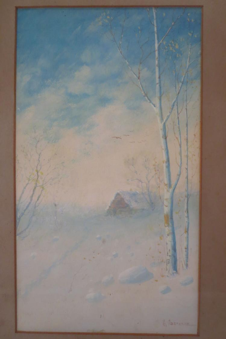 Gulbrand Sether,1869-1941, 2 Winter Scenes, watercolor