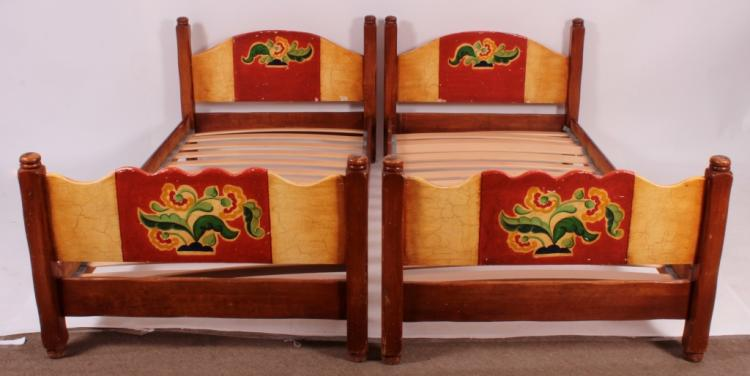 Pr Of Coronado Painted Twin Bed Frames