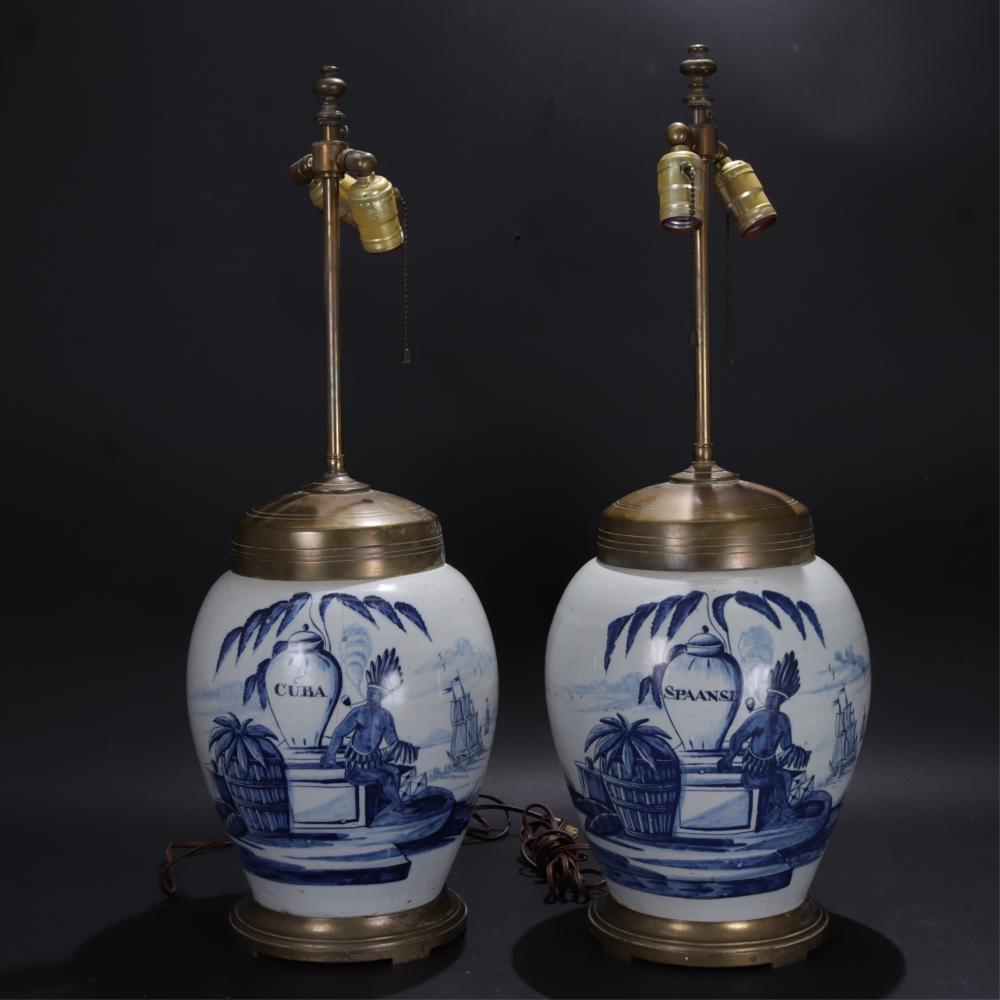 "TWO 19C DELFT TOBACCO JAR LAMPS ""CUBA"", ""SPAANSE"""