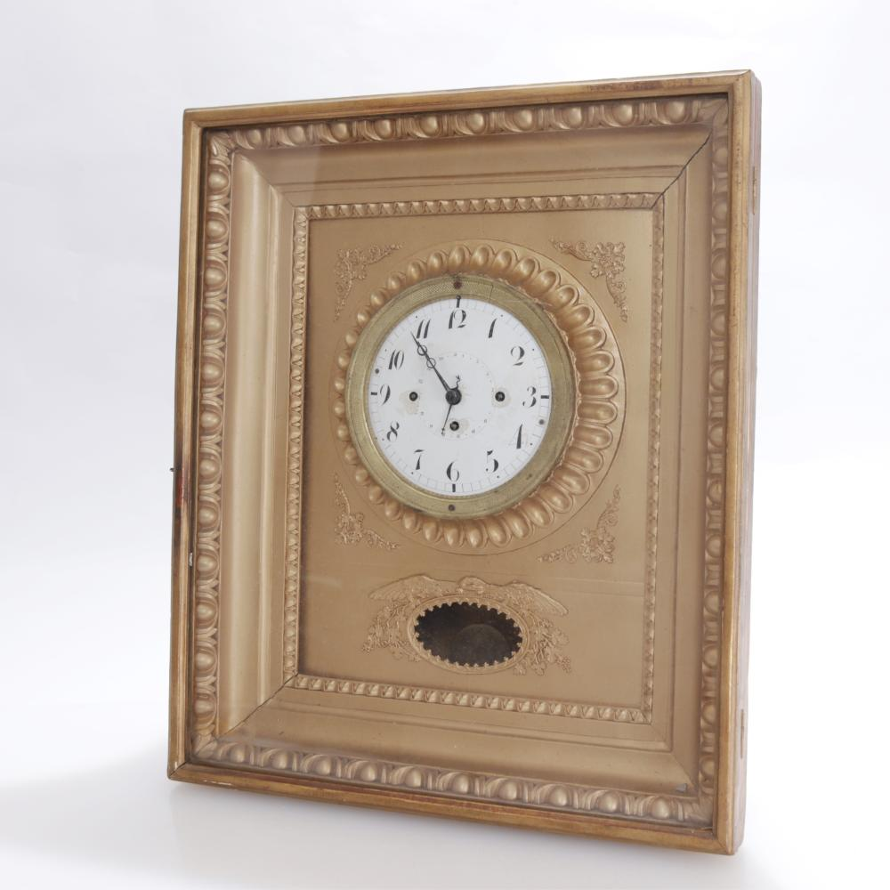 VICTORIAN GILTWOOD/COMPOSITION WALL CLOCK, 19TH C.